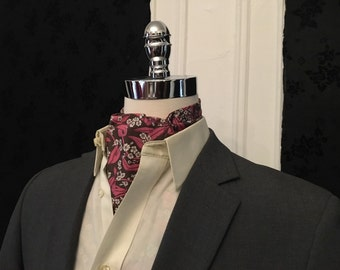Pink and Brown Floral Ascot Cravat