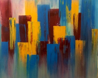 Acrylic abstract-turquoise, yellow, red