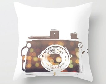 camera pillow, camera pillow cover, nursery bedding, loft decor, bokeh print, linens, modern home decor, photographer gift, for her, dorm
