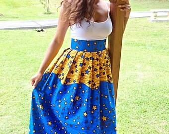 Star African print skirt