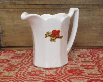 Vintage McCoy Pitcher, White Vase with Scalloped Rim and Bird Decal, Lancaster Colony, Flower Holder, Farmhouse Vase, Rustic Kitchen Decor