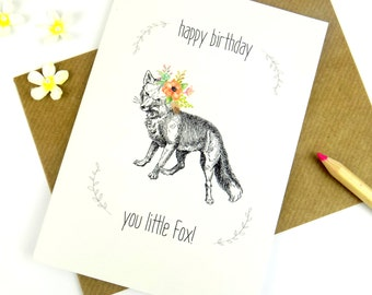 Birthday Card You Little Fox Happy Birthday Greeting Card