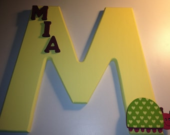Painted Wood Letter with Custom Name and Decal