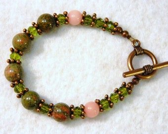 Unakite and Rhodonite Bead Bracelet with Antique Copper Tone Accents 7.9 Inch