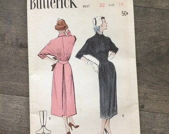 Vintage 40's 50's Misses Dolman Batwing Shirtwaist Dress , Butterick 5319, Bust 32