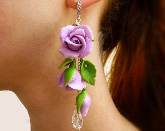Flower earrings Violet earring Long earrings Purple jewelry Violet flower earrings Rose earrings Flowers jewelry Floral earrings