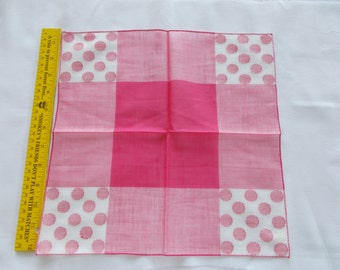 Vintage hankie pink and white with polka dots on the corners