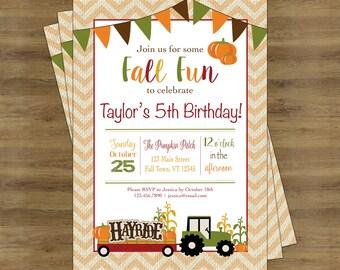 Fall Birthday Invitation; Fall Birthday Party; Fall Party Invitations; Pumpkin Birthday Invitation; Pumpkin Birthday Party; Pumpkin Party