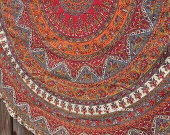 Roundie / Round fabric- Beach, Yoga, Dorm, College- Elephant Tapestry Mandala Bohemian Boho red, orange, etc fabric