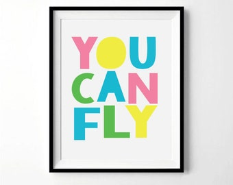 You Can Fly Digital Print | Pastel Colors | Nursery, Child's room decor | Digital Download