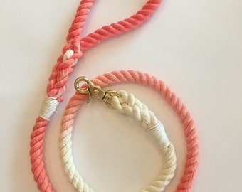 Ombre cotton rope dog leash