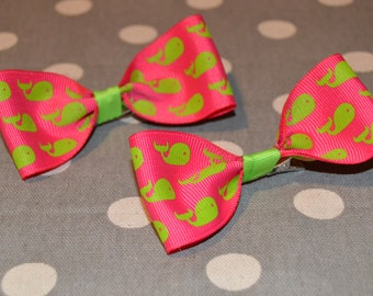 Hot Pink with Green Whale Bow Duo