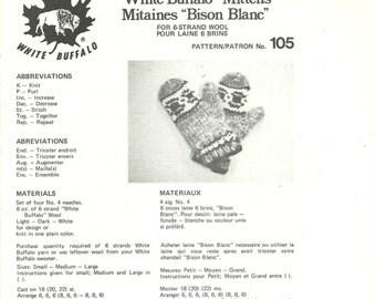 White Buffalo Knitting Pattern 6 Strand Mittens S M L Cowichan Siwash Design