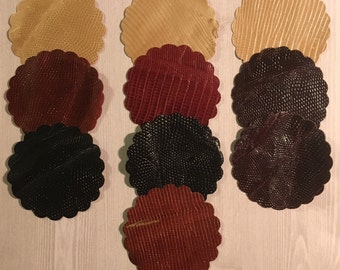 "Clearance! Lizard Leather 3"" Scallop Circle Assorted Colors - Set of 10!"