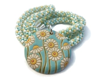 Darling Daisy Ceramic Pendant On A Kumihimo Necklace