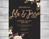 Gold flower wedding invitation, gold wedding invitation, gold wedding invitation, gold floral wedding, diy wedding, gold flower wedding