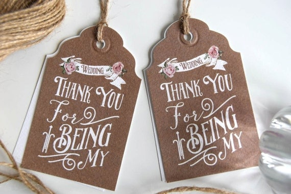 Personalised Bridesmaid Thank You Tags (bridal party tags)