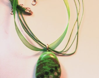Green Pebble Necklace ribbon necklace, great gift