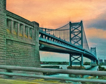 Ben Franklin Bridge, Philadelphia, Philadelphia Decor, Bridge Art, Suspension Bridge, Fine Art Print