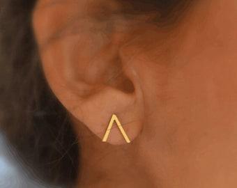 gold triangle open side earrings, v design  earrings, chevron earrings,  geometric studs, minimalist earrings, open side triangle
