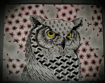 Owl Print of my original artwork.  Limited set of 100 per size available