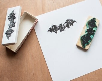 Bat rubber stamp - Halloween decoration - Scrapbooking accesories hand-engraved - Original gift for Halloween