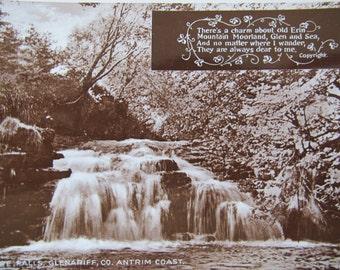 Parkmore Falls Glenariff Antrim Coast postcard / unposted / real photo postcard / Sepia waterfalls postcard