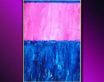 Modern Painting (Minimalist Art) Modern Abstract Painting, Modern Art Rose (Pink) and Blue Acrylic Painting & Oil Pinting ready to hang
