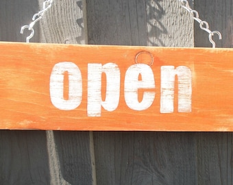 Open Closed hand painted sign vintage style