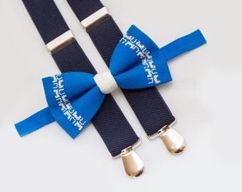 Embroidery Blue Bow Tie And Navy Blue Suspenders Photo Shoots Bow Ties Wedding Boys Outfit