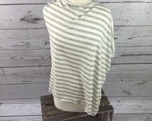 Grey Striped Poncho/ Nursing Cover