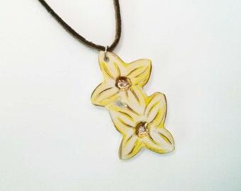 Forsythia flower ceramic necklace