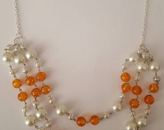 Three strand vintage style necklace