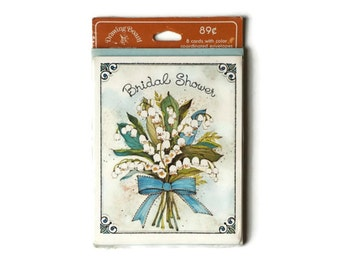 Vintage Bridal Shower Invitations, White Flowers White Bluebells 8 Cards with Envelopes Vintage Wedding Stationary Set Bridal Shower Invites