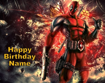 Deadpool Edible Image Cake Topper Personalized Birthday 1/4 Sheet