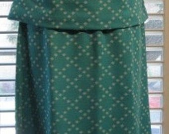 Vintage 1960s Double Knit Polyester Turquoise Sleeveless Top & Skirt Size S-M Set