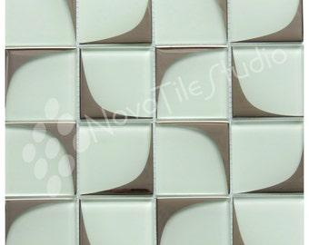 ONE BOX of Retro White Glass Mosaic Tiles MILANO-GL004 (10 Sheets x Box)