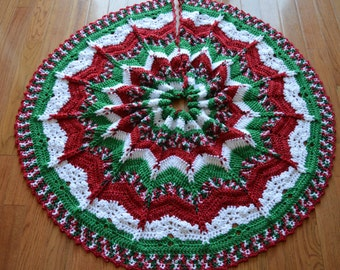 Gorgeous Crochet Christmas Tree Skirt Sparkly MADE TO ORDER