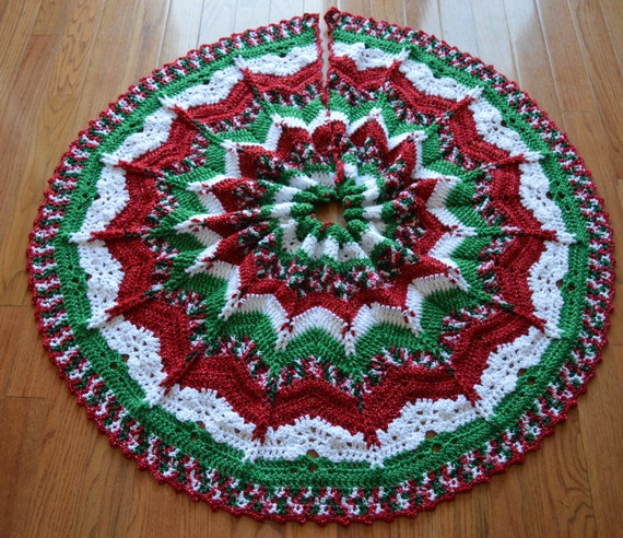 Gorgeous Crochet Christmas Tree Skirt Sparkly MADE TO