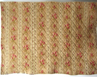 Antique Beautiful 19th C. French Cotton Quilt Piece (9539)
