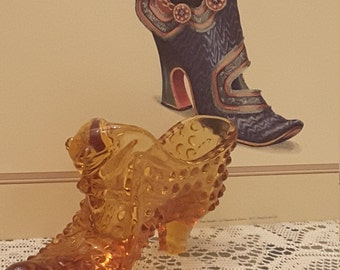 Amber Glass Fenton Hobnail Collectible Leopard Shoe with original sticker