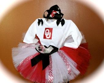 OU Tutu Set Oklahoma Sooners Baby Girl Tutu OU Hair-Bow OU Onesie