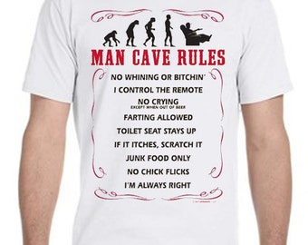 Man Cave Rules Tee-Shirt, tshirt, t shirt, mens clothing, mens tshirt, gifts for him, man cave item, man cave stuff man cave rules