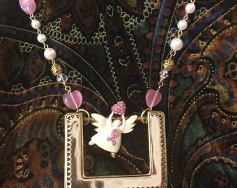 Survivor Necklace Re-Purposed Belt Buckle angel
