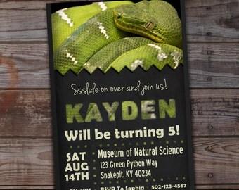 Snake birthday invitation, Python birthday invitations, Snake birthday invites, Snake birthday party, Snake birthday, Green Python, Reptile