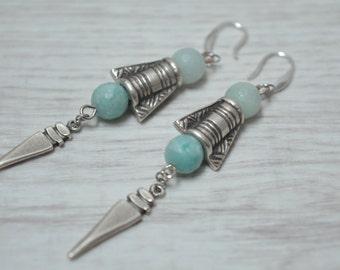 Silver beaded earrings, amazonite earrings, silver arrow earrings, 925 silver earrings, dangle earrings, boho summer earrings, stud earrings