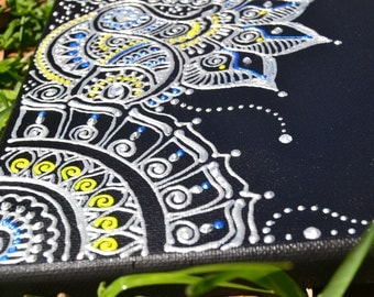 Mixed Media Acrylic Henna Painting, Henna Design, Unique Global Henna Art, Silver Yellow Blue