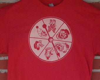 Clown Wheel Game Spinner Super Soft Red Heather T Shirt Vintage Style Last Man on Earth