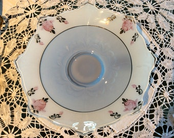 Antique Elegant Art Deco Indiana glass large Center piece fruit bowl dish inverted Pink roses flowers pattern and soft blue