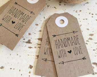 Rustic 'Handmade with Love' Tags Pk20